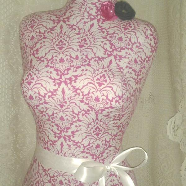 Decorative Dress Form Jewelry Display Stand. Pink Damask Mannequin ...